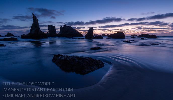 Oregon Fine Art Photography Coast ocean seascape sea stack dusk Michael Andrejkow
