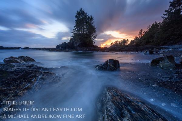 Vancouver Island Fine Art luxury home decor seascape ocean sea stack dusk beach Michael Andrejkow