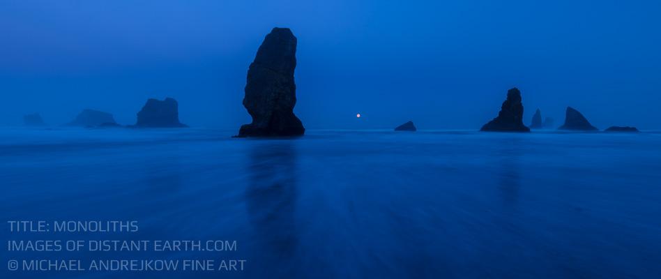 Oregon Luxury Fine Art Gallery seascape luxury home decor artwork ocean sea stack beach dusk Michael Andrejkow