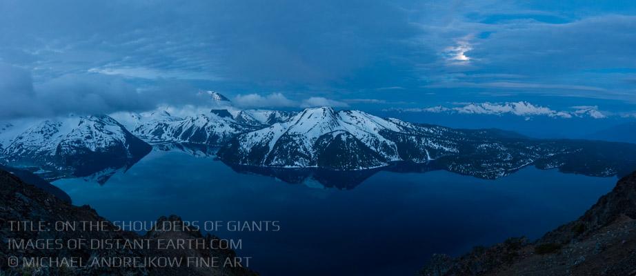 BC Fine Art British Columbia Coast Mountains Moon Night Alpine Lake Artwork for sale Luxury Home Decor Michael Andrejkow
