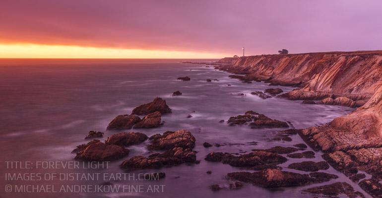 California Fine Art seascape ocean coast lighthouse sea stacks sunset Michael Andrejkow