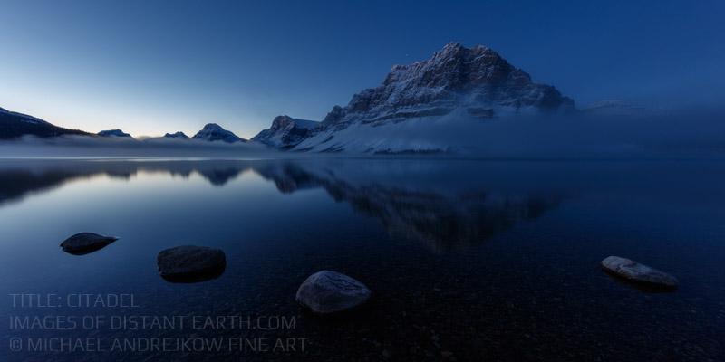 Canadian Rockies Banff Fine Art Prints for sale Mountain Lake dawn mist artwork home decor Michael Andrejkow