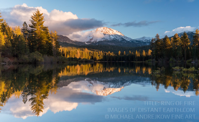 Fine Art Photography Prints for sale Volcano Mountain Lake Reflection Artwork Luxury Home Decor Ring of Fire Michael Andrejkow