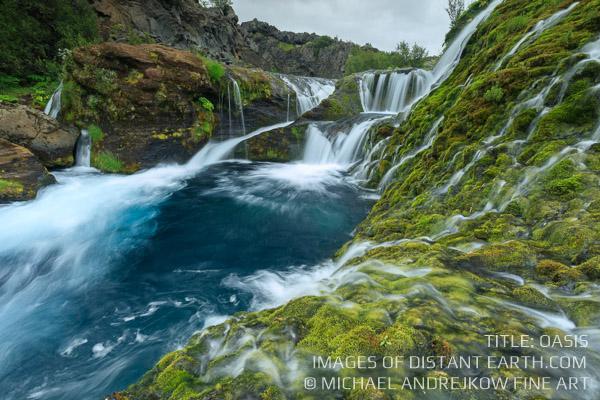 Iceland Oasis Fine Art home decor artwork waterfall Michael Andrejkow