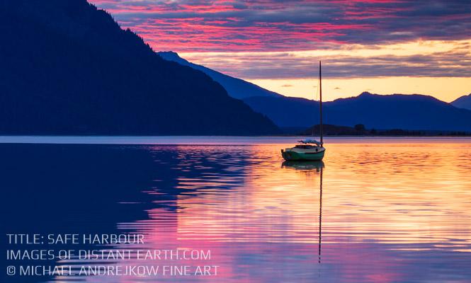 Michael Andrejkow Safe Harbour Sailboat Fine Art Bay Sunset