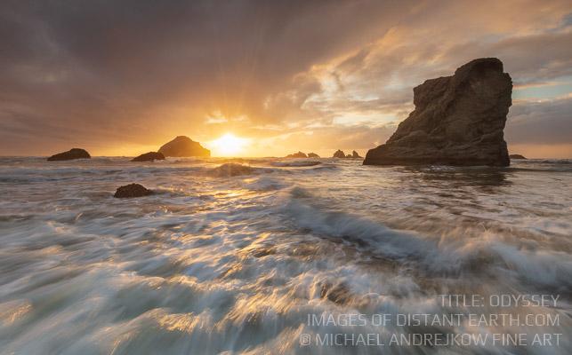 Oregon Fine Art artwork seascape ocean waves surf beach sea stack sunset Michael Andrejkow
