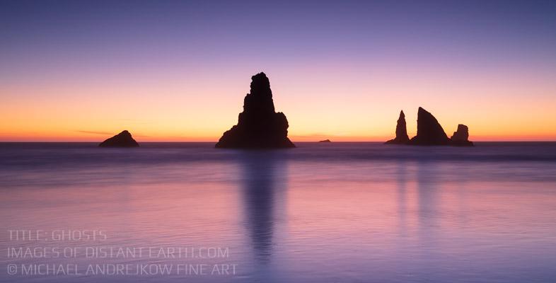 Oregon Fine Art seascape ocean sea stack moody sunset coast Michael Andrejkow