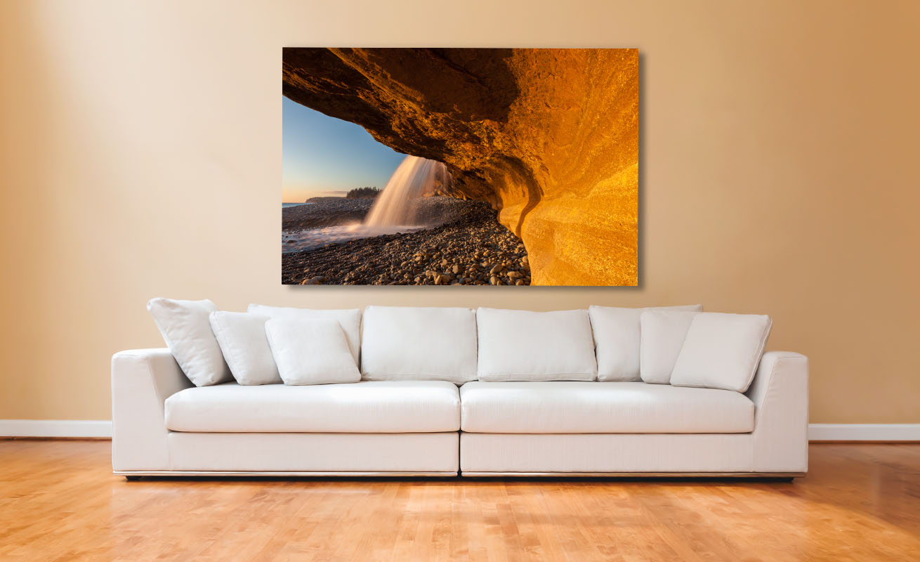 Vancouver Island Fine Art Photography Golden Cascade Waterfall Artwork Luxury Home Decor Living Room white couch Michael Andrejkow