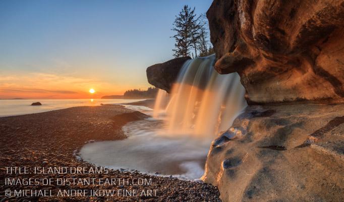 Vancouver Island Fine Art Waterfall sunset cliff Luxury Home Decor Artwork Michael Andrejkow