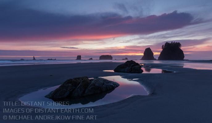 Washington Fine Art luxury decor seascape sea stack beach dusk sunset ocean Michael Andrejkow
